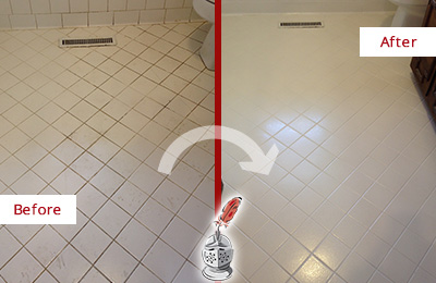 Before and After Picture of a West Hempstead White Bathroom Floor Grout Sealed for Extra Protection