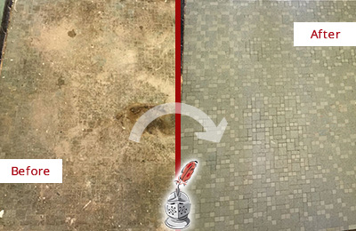 Before and After Picture of a Belleville Mosaic Shower Cleaned to Eliminate Embedded Dirt