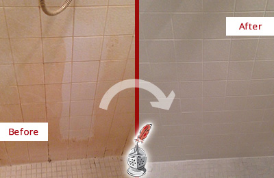 Before and After Picture of a Belleville Porcelaine Shower Cleaned to Remove Soap Scum