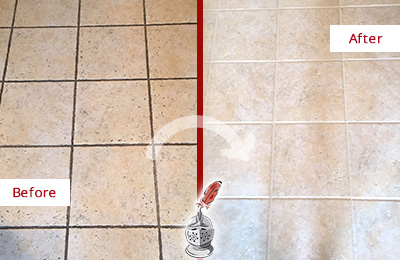 Before and After Picture of a Belleville Ceramic Floor Cleaned to Remove Soil